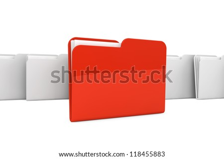 Documents organized concept. Red Folder with paper on a white background