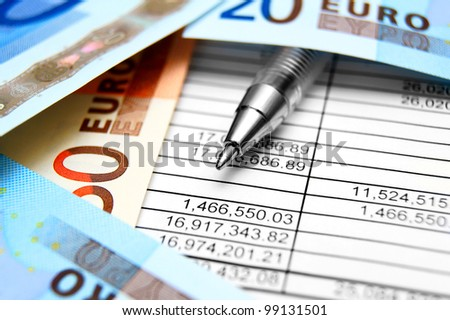 Documents, the pen and money (euro).