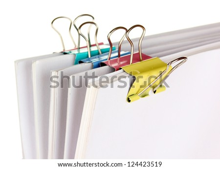 Documents with binder clips close up - stock photo