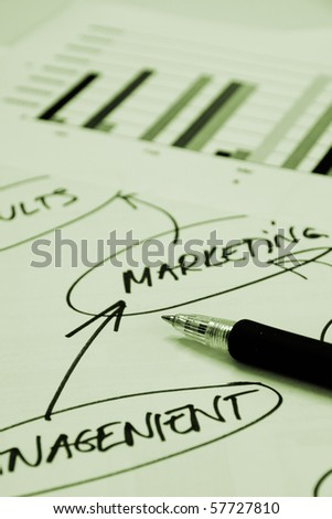 Documents with graphs and mind map - stock photo