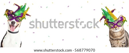 Dog and cat Mardi Gras party horizontal banner with room for text