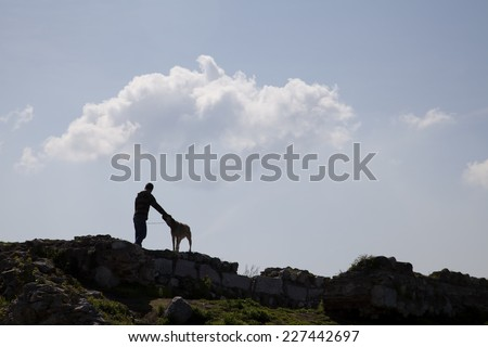 dog and man on an ancient structure