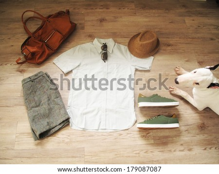 Dog and man outfit ( dog want to handsome )