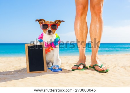 dog and owner sitting close together at the beach on summer vacation holidays, holding an empty blank blackboard or placard