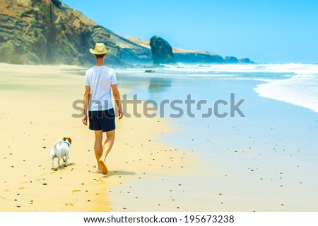 dog and owner walking at the beach on a paradise beach