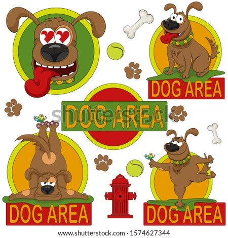 Dog area. Illustration to indicate areas of land that are intended for dogs. Set of colored icons and stickers.