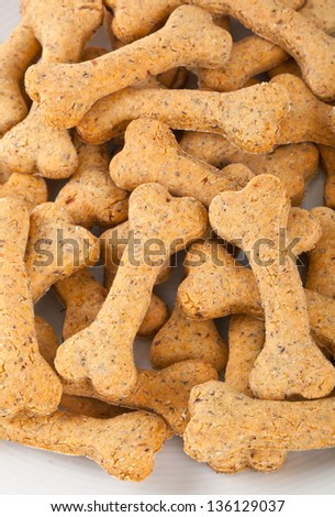 Dog biscuits on white background
