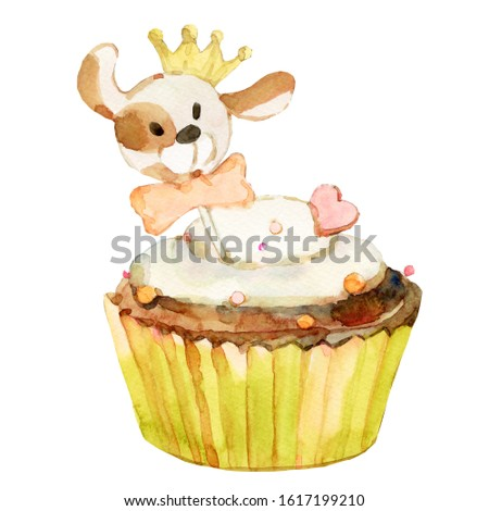 Dog cake in watercolor. Pet care painting. Isolated illustration. Watercolor baking for dog.