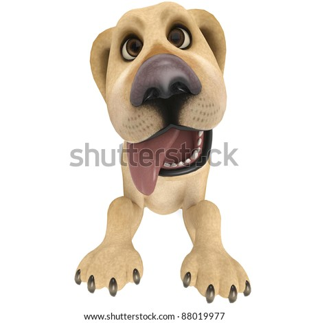 dog cartoon begging close up
