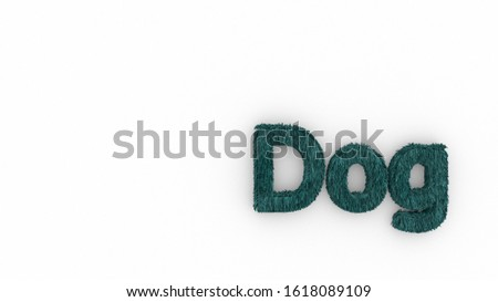 Dog 3d word azure on white background. render of furry letters. hair. pets fur. Pet shop, pet house, pet care emblem logo design template. Veterinary clinics and animal shelters homeless illustration