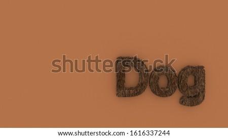 Dog 3d word brown on orange background. render of furry letters. hair. pets fur. Pet shop, pet house, pet care emblem logo design template. Veterinary clinics and animal shelters homeless illustration