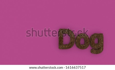 Dog 3d word brown on pink background. render of furry letters. hair. pets fur. Pet shop, pet house, pet care emblem logo design template. Veterinary clinics and animal shelters homeless illustration