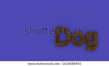Dog 3d word brown on violet background. render of furry letters. hair. pets fur. Pet shop, pet house, pet care emblem logo design template. Veterinary clinics and animal shelters homeless illustration