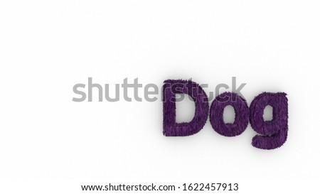Dog 3d word purple on white background. render of furry letters. hair. pets fur. Pet shop, pet house, pet care emblem logo design template. Veterinary clinics and animal shelters homeless illustration