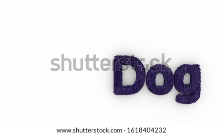 Dog 3d word violet on white background. render of furry letters. hair. pets fur. Pet shop, pet house, pet care emblem logo design template. Veterinary clinics and animal shelters homeless illustration