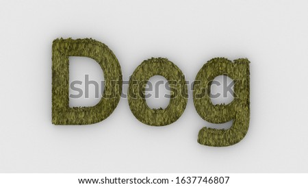 Dog - 3d word yellow on white background. render of furry letters. Dog pets fur. Pet shop, pet house, pet care emblem logo design template. Veterinary clinics and animal shelters homeless illustration