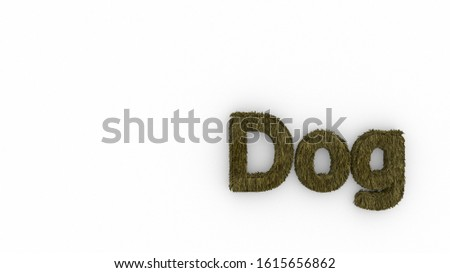 Dog 3d word yellow on white background. render of furry letters. hair. pets fur. Pet shop, pet house, pet care emblem logo design template. Veterinary clinics and animal shelters homeless illustration