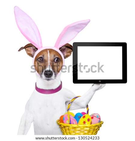 dog dressed up as bunny with easter basket holding a tablet pc - stock photo