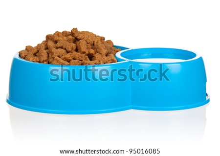 Dog food in bowl isolated on a white background