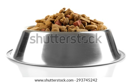 Photo of  Dog food in bowl, isolated on white