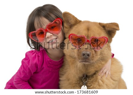 Dog hugged by child isolated on white background