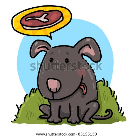 Dog illustration; Hungry dog thinking of a steak drawing