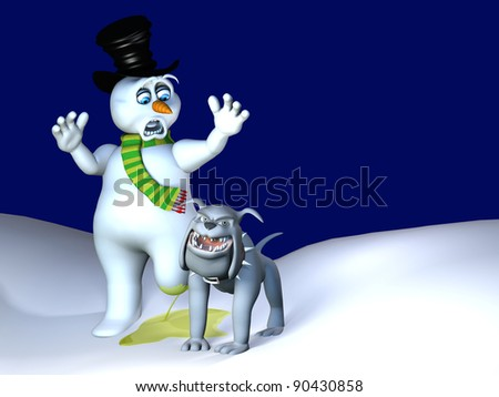 Dog Leg Lift - Snowman Melt.  A bull dog lifting his leg and peeing on a snowman, melting one of his legs.