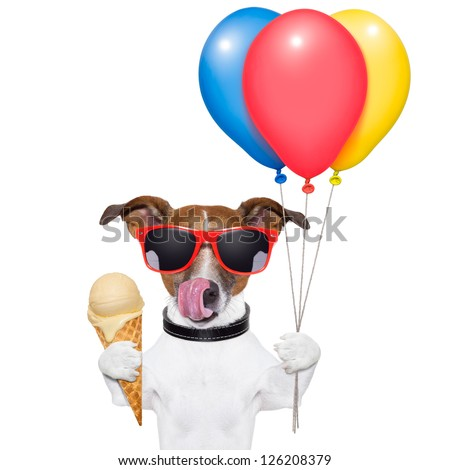 dog licking with ice cream and balloons
