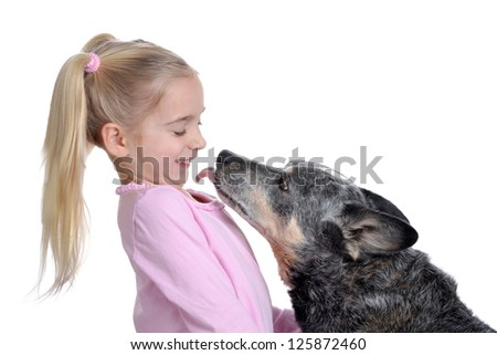 dog licking young girl