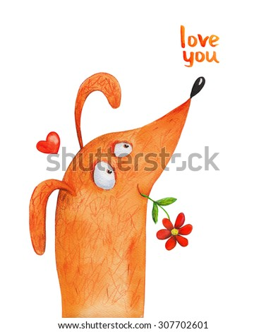 Dog nose up with flower and heart. Love you. Watercolor illustration. Hand drawing