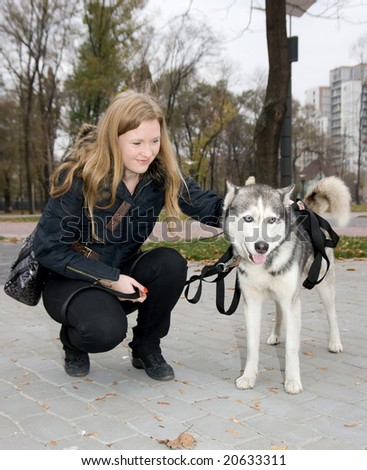dog outdoor with owner