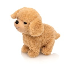 Dog plushie doll isolated on white background with shadow reflection. Playful bright brown puppy toy. Plush stuffed puppet on white backdrop. Fluffy toy for children. Cute furry plaything for kids.