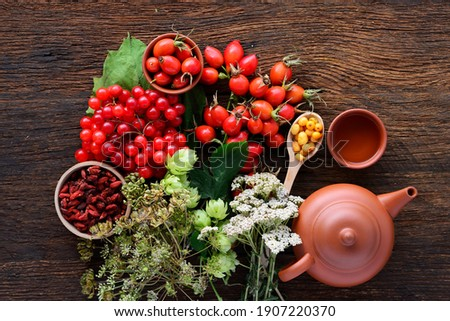 Dog rose, bunch branch Rosehips Rosa canina hips, goji berries and sea buckthorn and herbal tea - Medicinal plants herbs composition to enhance immunity and vitamins Stock photo ©