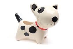 dog statue ceramic on white background