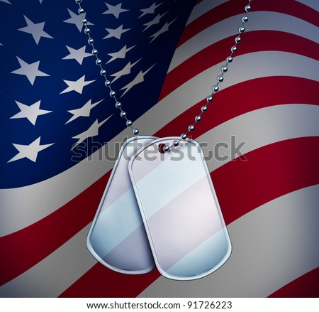 Dog Tags with an American Flag on blank metal and beaded necklace on stars and stripes as an American military identification of soldiers for medical attention for wounded and fallen heroes.