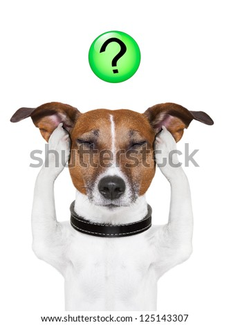 dog thinking with a question mark on top