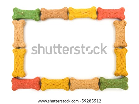 Dog treats making a border isolated on a white background, dog border