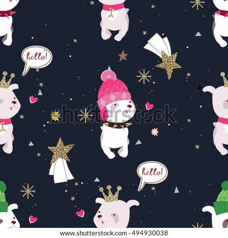 Dog wearing fashion crown and winter hat, snowflakes, stars.Hand drawn illustration .Ready for t-shirt design or party birthday invitation, wrap paper.Seamless pattern
