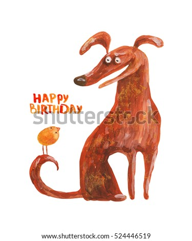 Dog with chicken on tail. Happy birthday. Hand drawing illustration