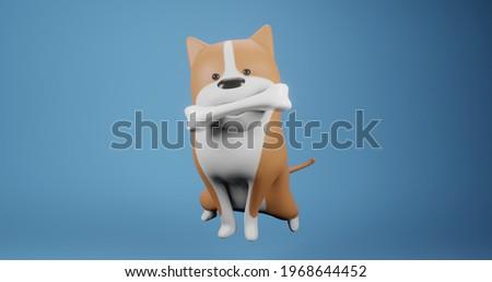 dog with his bone 3d illustration