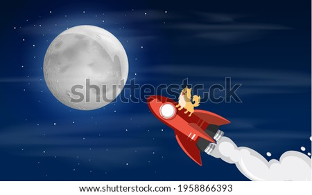 Dogecoin Dog riding to the moon
