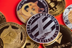 Dogecoin DOGE group included with Cryptocurrency coin bitcoin, Ethereum ETH, Silver Litecoin LTC, symbol Virtual blockchain technology future is money lose Close up on red background