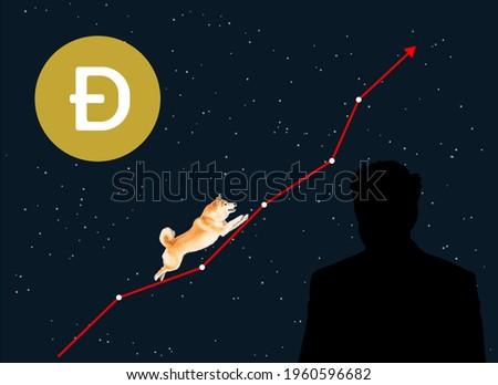 dogecoin, dogecoin growth, Elon Musk Dogecoin. illustration