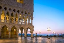 Doges Palace (Palazzo Ducale) on Saint Mark square at blue hour before sunrise, Venice, Venezia, Italy, Europe