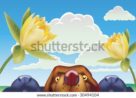 Dogs Smelling Tulips