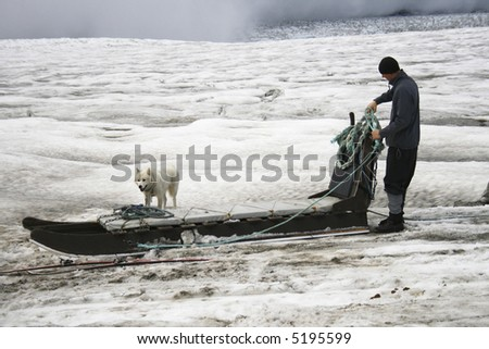 dogsled on glacier with dogs and man
