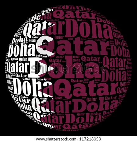Doha capital city of Qatar info-text graphics and arrangement concept on black background (word cloud)