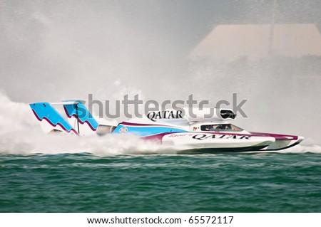 DOHA-NOV 20: Dave Villwock piloting the Spirit of Qatar to a world championship win while racing in the Oryx Cup H1 Unlimited World Championship event Nov 20, 2010 in Doha, Qatar.