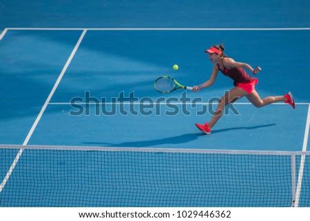 DOHA-QATAR: FEBRUARY 15 : Tennis Player at Qatar Total Open on February 15, 2018 in Doha, Qatar