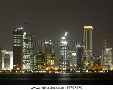 Doha, the capital of Qatar under construction at night